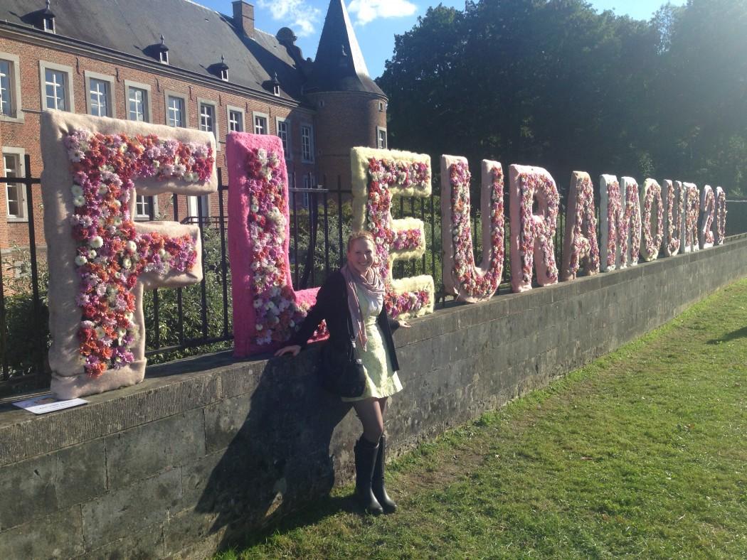 Klára Uhlířová, floristka z Brna na floristické výstavě Fleuramour, v Belgii.