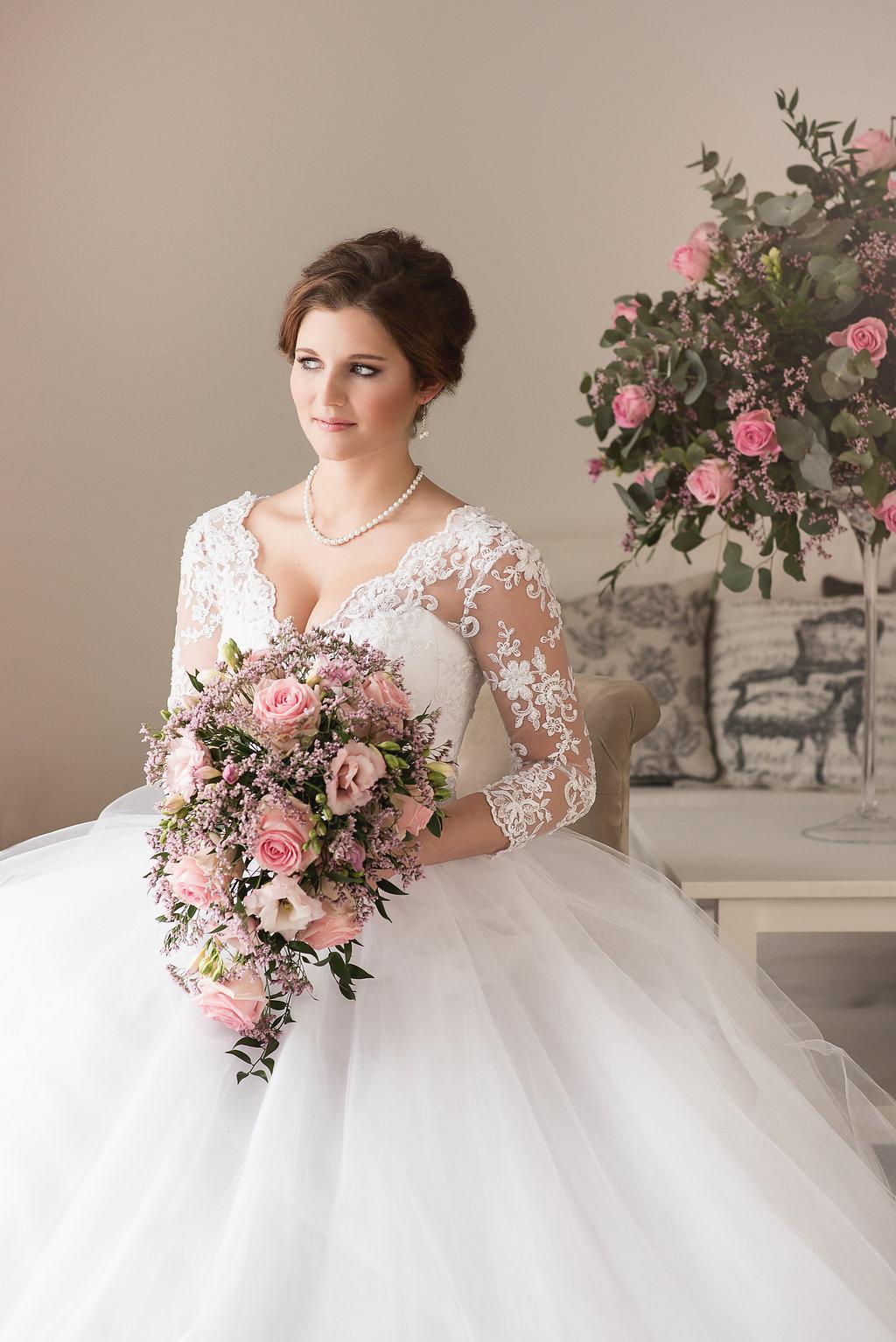 Luxusní převislá svatební kytice